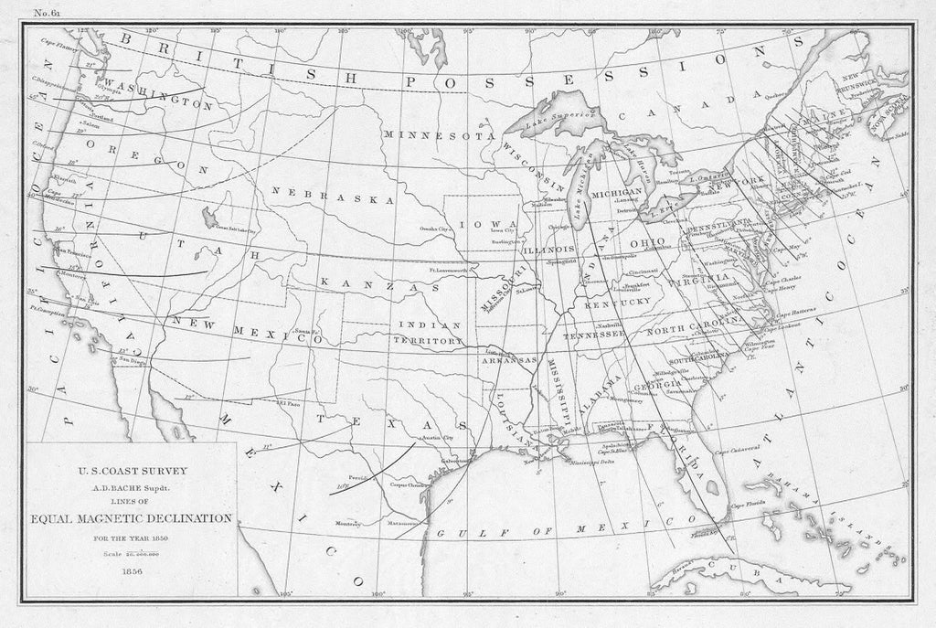 18 x 24 inch 1856 Maine old nautical map drawing chart of LINES OF EQUAL MAGNETIC DECLINATION FOR THE YEAR 1850 From  U.S. Coast Survey x6326