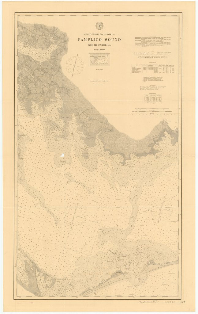 18 x 24 inch 1883 North Carolina old nautical map drawing chart of PAMPLICO SOUND, NORTH CAROLINA, MIDDLE SHEET From  US Coast & Geodetic Survey x6578