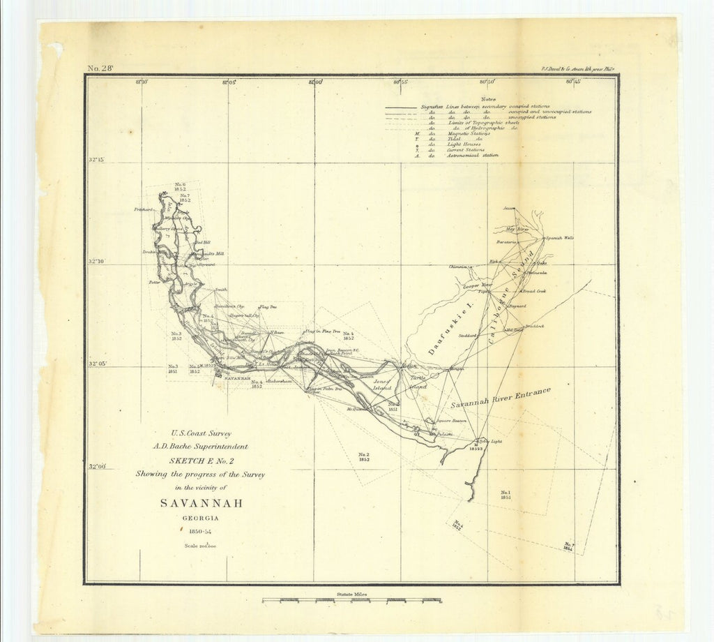 18 x 24 inch 1854 US old nautical map drawing chart of Sketch E Number 2 Showing the Progress of the Survey in the Vicinity of Savannah, Georgia From  U.S. Coast Survey x610