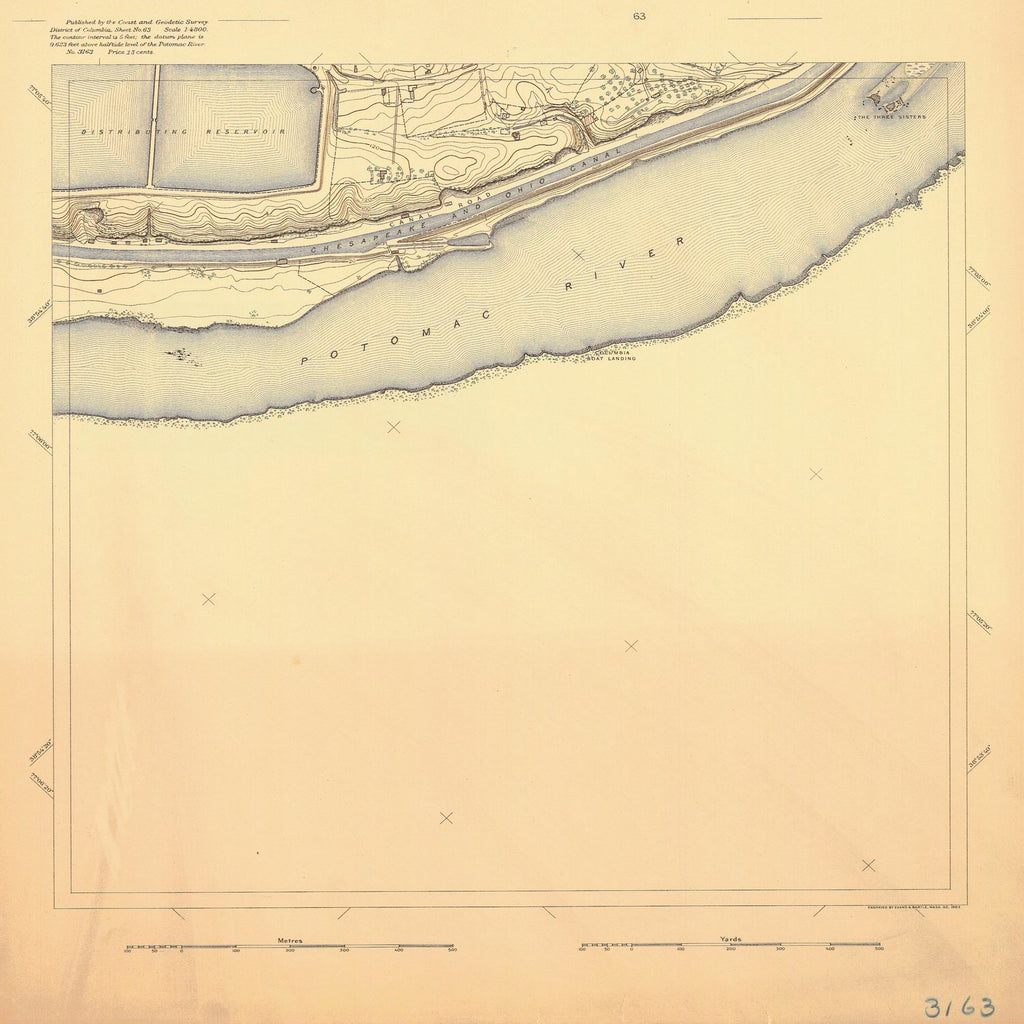 18 x 24 inch 1893 US old nautical map drawing chart of POTOMAC RIVER From  US Coast & Geodetic Survey x1129