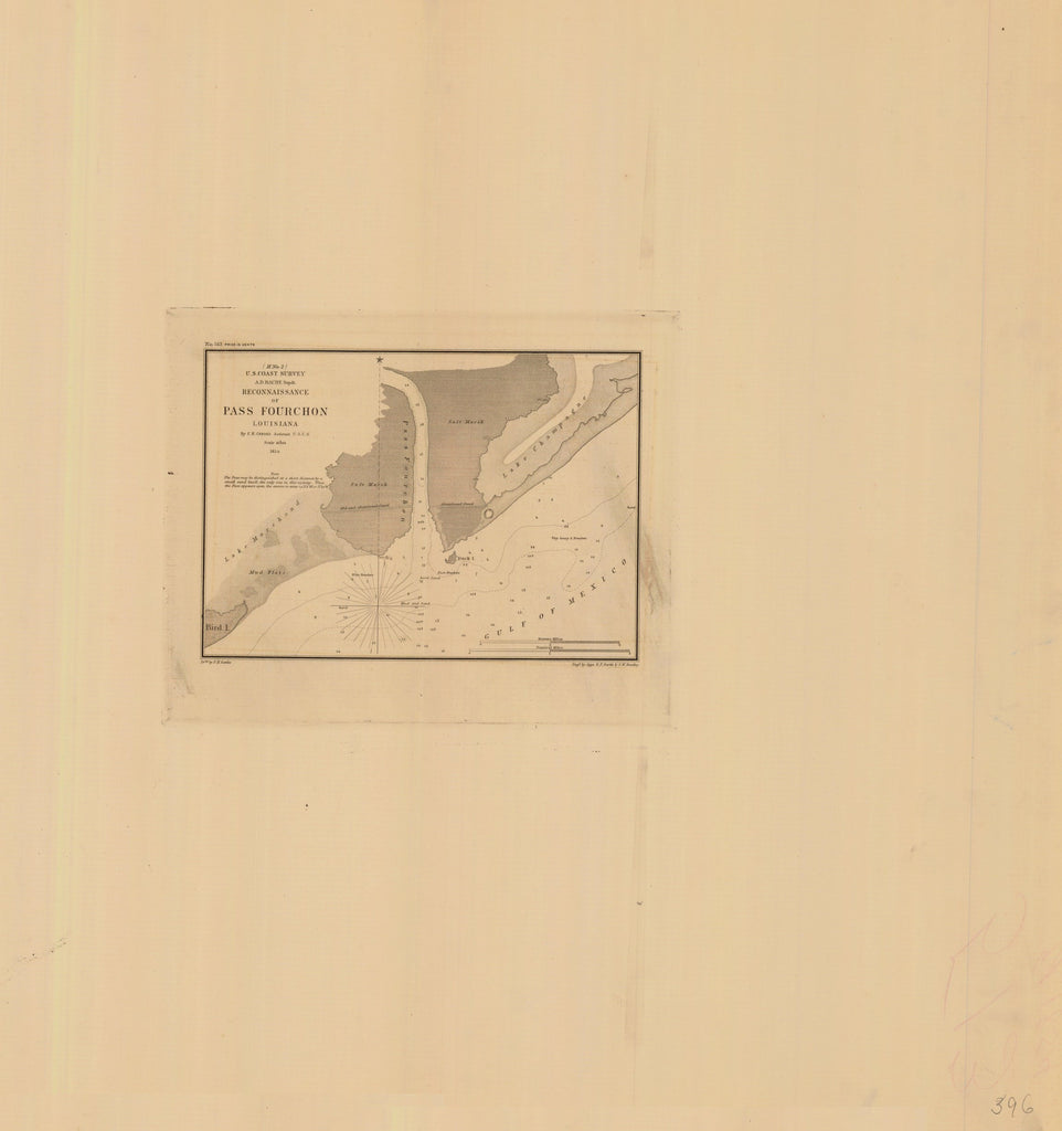 18 x 24 inch 1854 US old nautical map drawing chart of RECONNAISSANCE OF PASS FOURCHON From  U.S. Coast Survey x1991