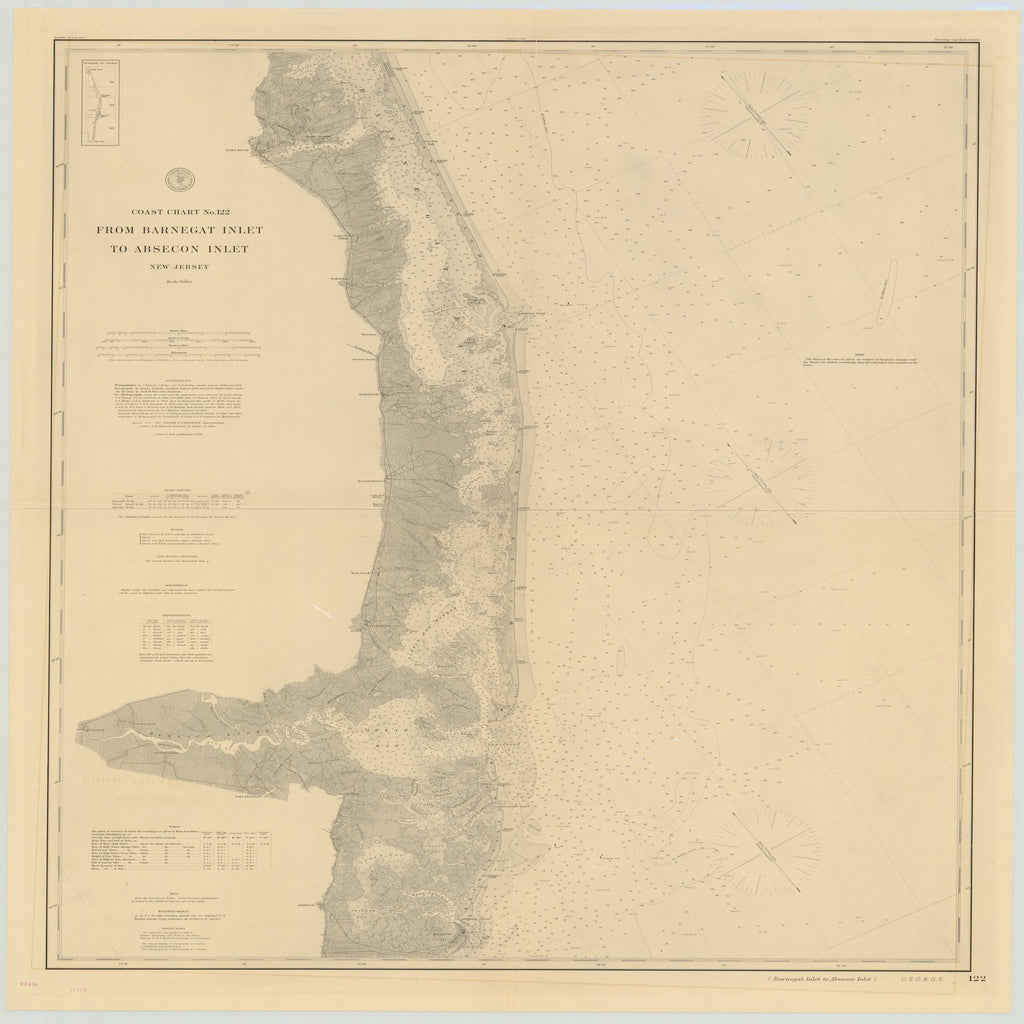 18 x 24 inch 1879 New Jersey old nautical map drawing chart of FROM BARNEGAT INLET TO ABSECON INLET, NEW JERSEY From  US Coast & Geodetic Survey x6632