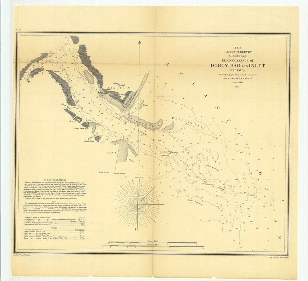 18 x 24 inch 1855 US old nautical map drawing chart of Reconnaissance of Doboy Bar and Inlet, Georgia From  U.S. Coast Survey x540