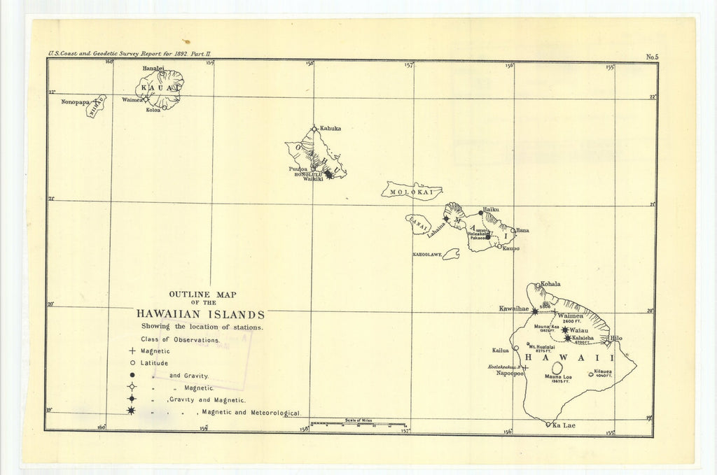 18 x 24 inch 1892 US old nautical map drawing chart of Outline Map of the Hawaiian Islands From  US Coast & Geodetic Survey x1210