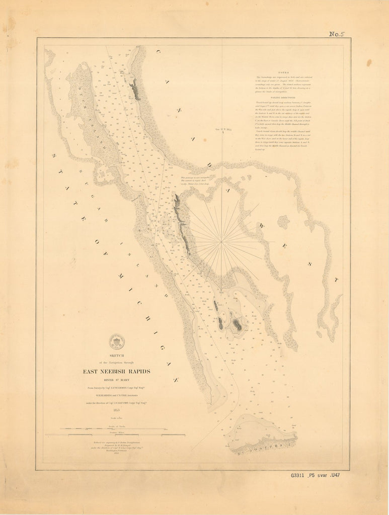 18 x 24 inch 1854 US old nautical map drawing chart of EAST NEEBISH RAPIDS,RIVER ST. MARY From  Lake Survey x3622