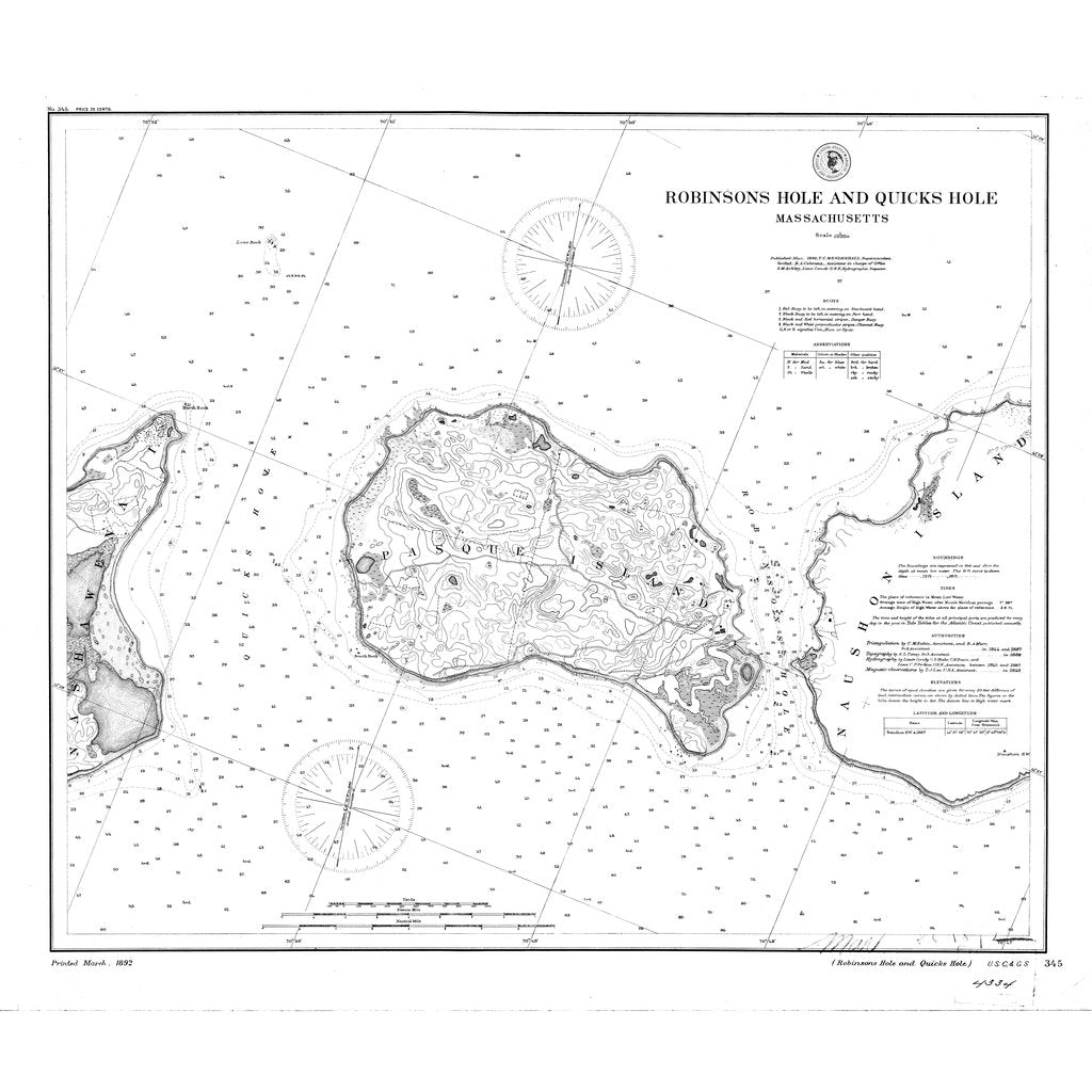 18 x 24 inch 1892 US old nautical map drawing chart of Robinsons Hole and Quicks Hole From  C&GS x2240