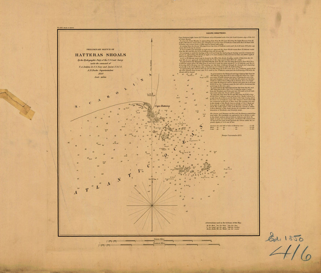 18 x 24 inch 1850 North Carolina old nautical map drawing chart of PRELIMINARY SKETCH OF HATTERAS SHOALS From  U.S. Coast Survey x7140