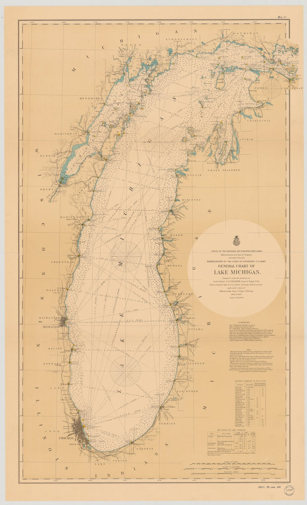 18 x 24 inch 1898 US old nautical map drawing chart of GENERAL CHART OF LAKE MICHIGAN. From  Lake Survey x1801