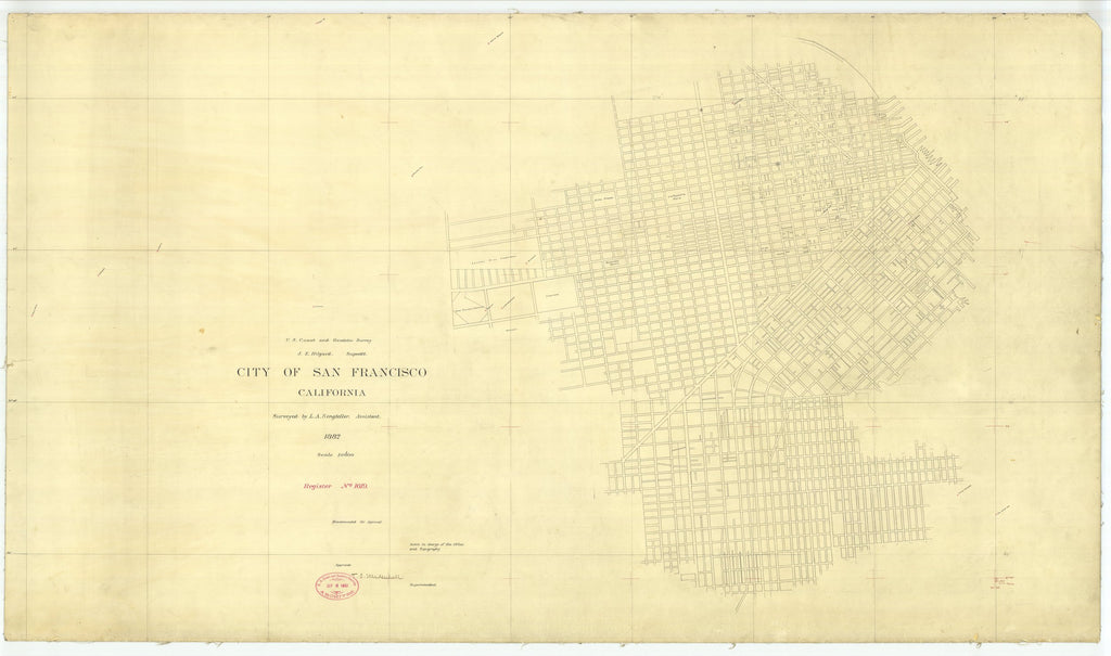 18 x 24 inch 1882 US old nautical map drawing chart of City of San Francisco, California From  US Coast & Geodetic Survey x2440