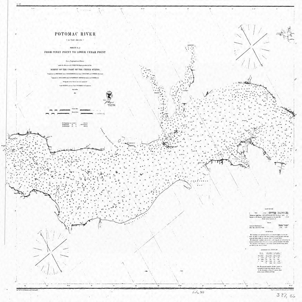 18 x 24 inch 1862 US old nautical map drawing chart of POTOMAC RIVER SHEET NO. 2 From  U.S. Coast Survey x4037