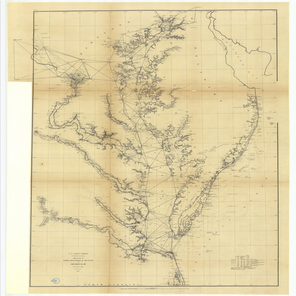 18 x 24 inch 1869 US old nautical map drawing chart of Sketch C Showing the Progress of the Survey in Section Number 3 from 1845 to 1868 From  U.S. Coast Survey x1918
