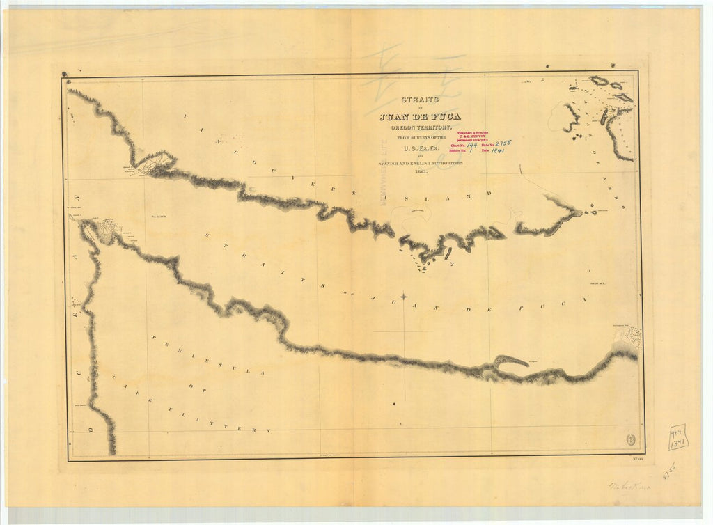 18 x 24 inch 1841 Washington old nautical map drawing chart of Straits of Juan De Fuca From  U.S. Ex. Ex. x11787