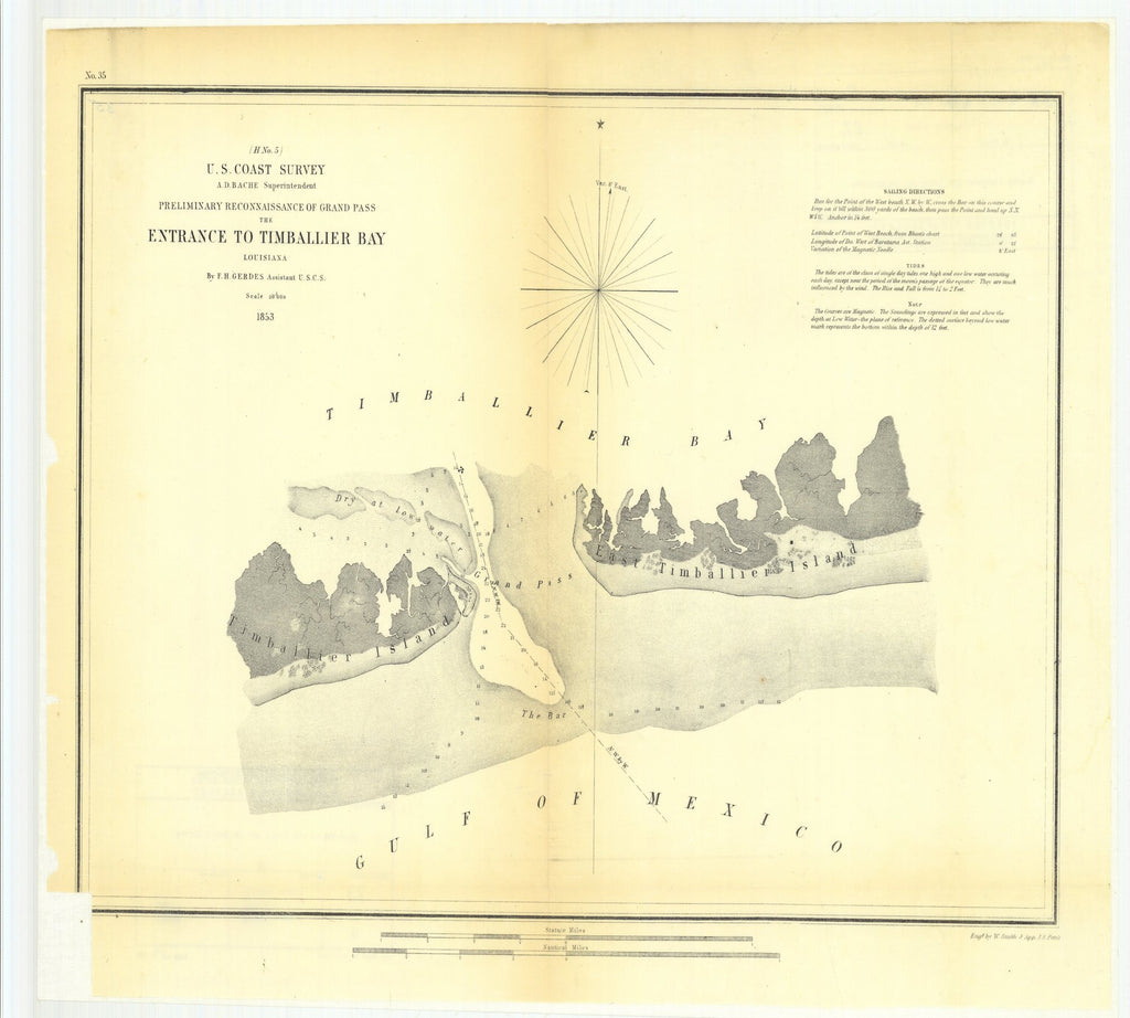 18 x 24 inch 1853 US old nautical map drawing chart of Preliminary Reconnaissance of Grand Pass the Entrance to Timballier Bay, Louisiana From  U.S. Coast Survey x2016