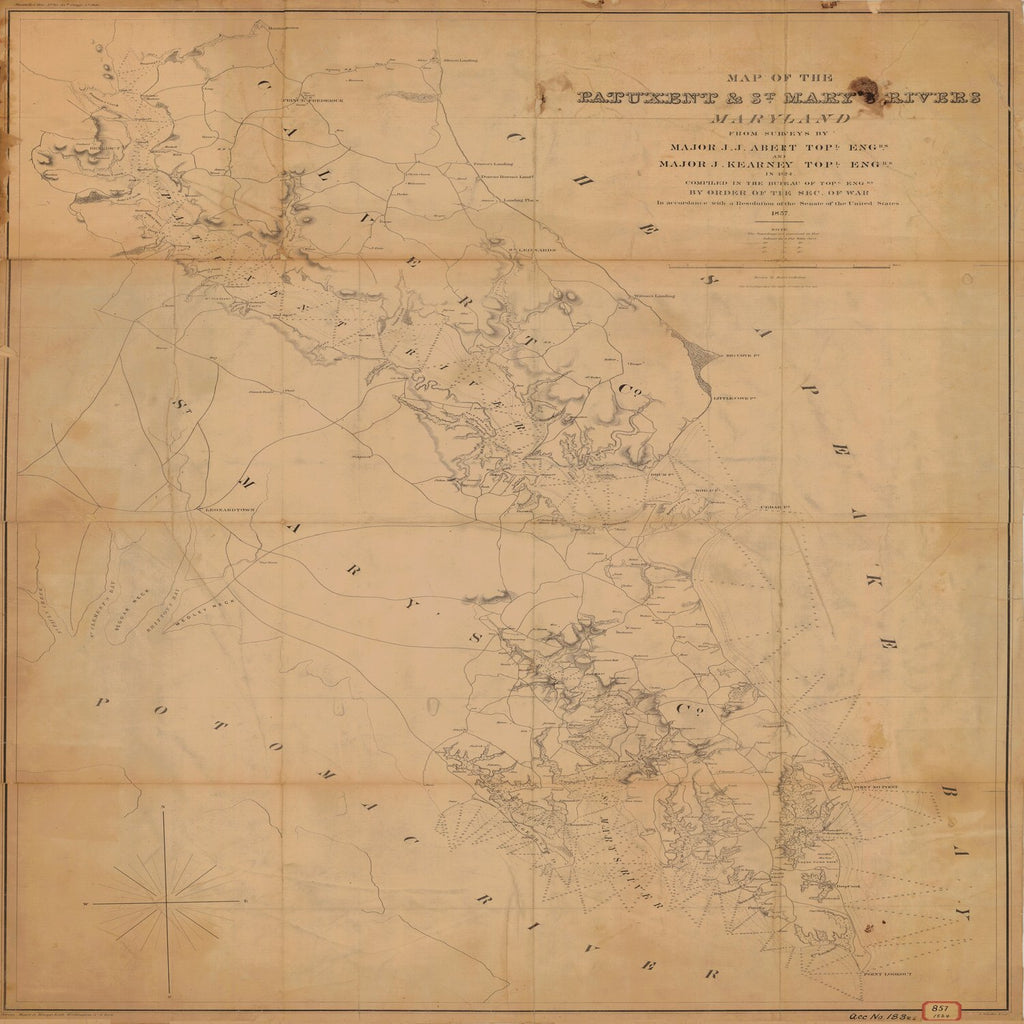 18 x 24 inch 1824 US old nautical map drawing chart of MAP OF THE PATUXENT AND ST. MARY'S RIVERS From  Bureau of Topographical Engineers x4062