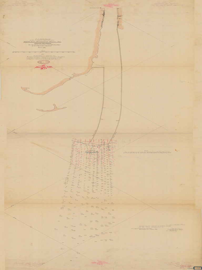 18 x 24 inch 1876 US old nautical map drawing chart of SOUTH PASS MISSISSIPPI RIVER SHOWING THE JETTIES From  NOAA x1981