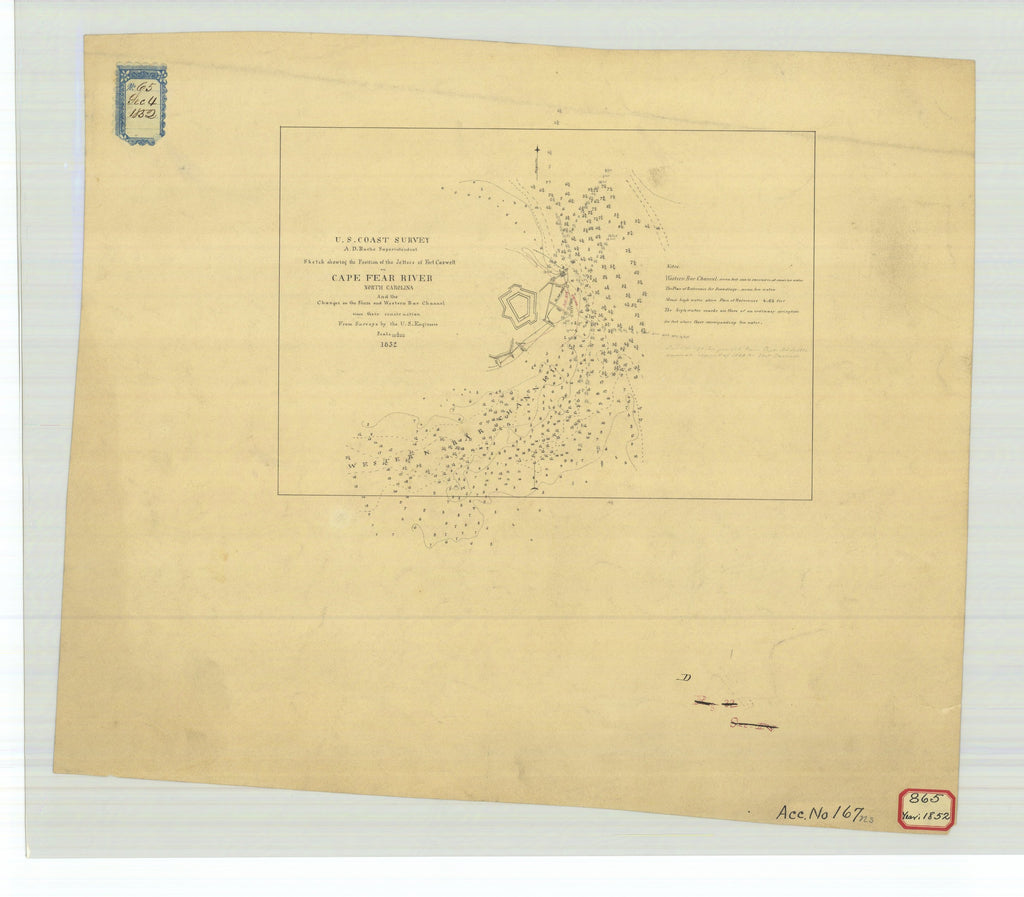 18 x 24 inch 1852 US old nautical map drawing chart of Sketch Showing the Position of the Jettees of Fort Caswell on Cape Fear River North Carolina and the Changes on the Shore and Western Bar Channel Since Their Construction From  U.S. Coast Survey x5501