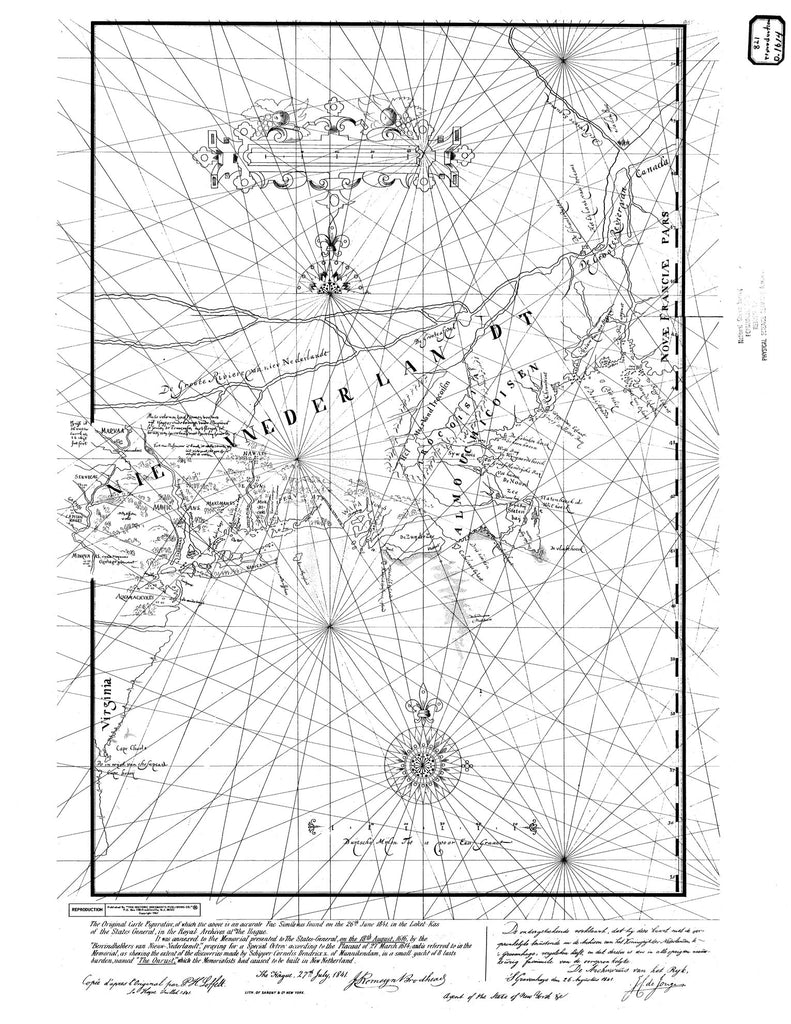 18 x 24 inch 1841 Maine old nautical map drawing chart of Nie Vnederlan DT From  NOAA x6329
