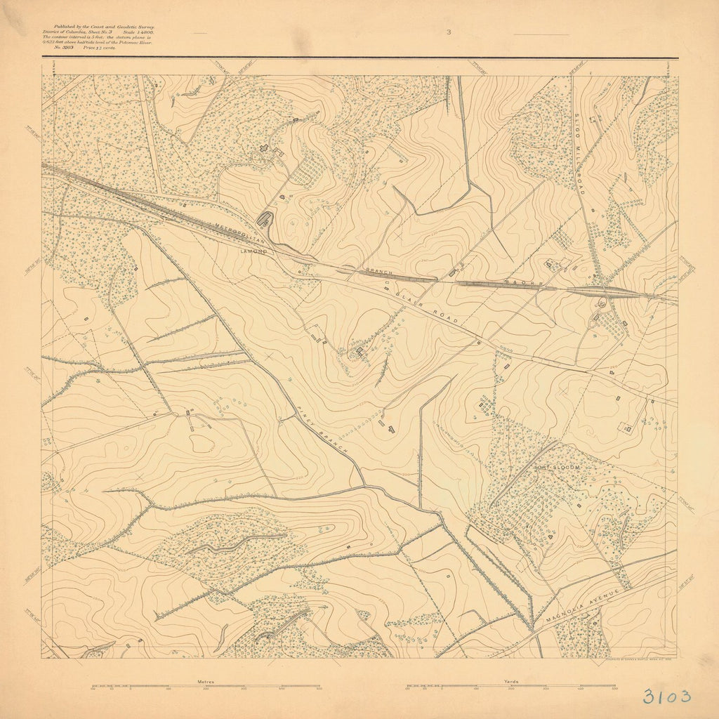 18 x 24 inch 1892 US old nautical map drawing chart of SURVEY OF POTOMAC REGION From  US Coast & Geodetic Survey x1127
