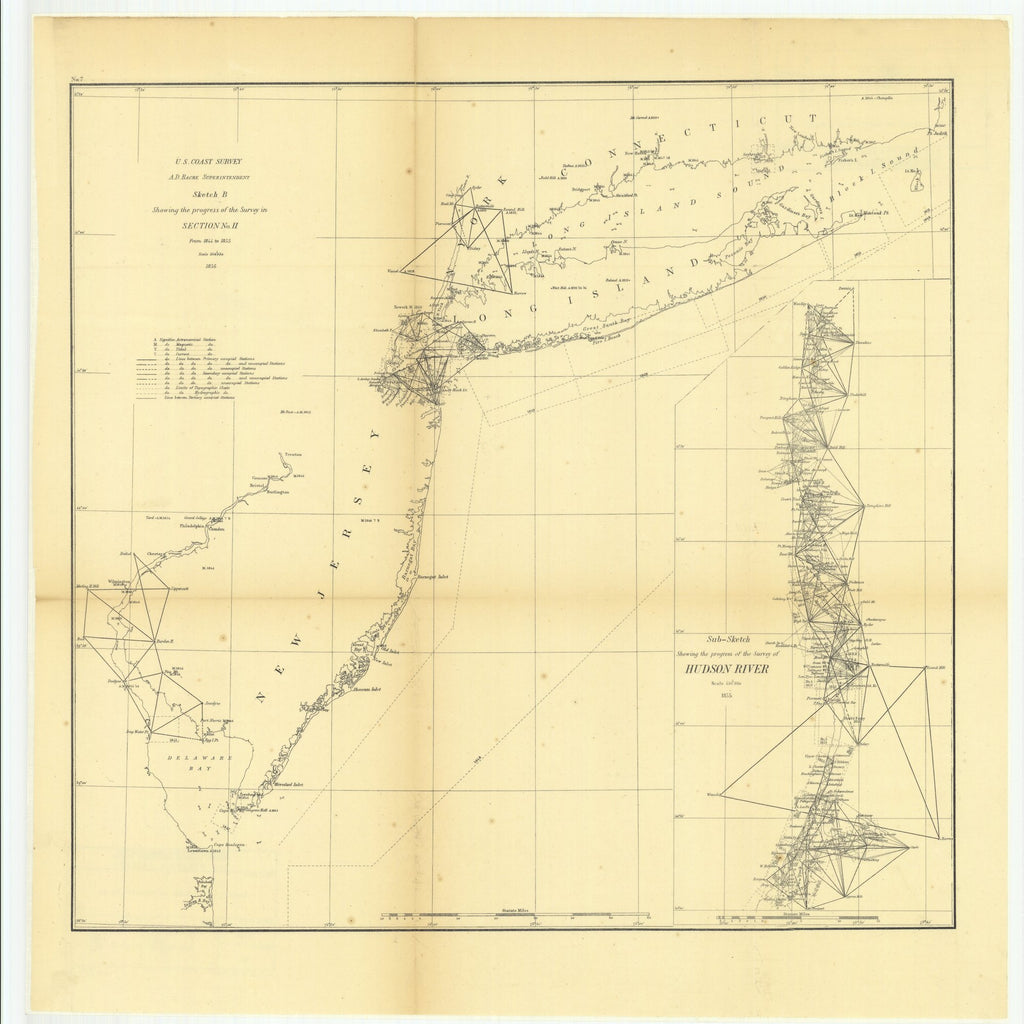18 x 24 inch 1855 New Jersey old nautical map drawing chart of Sketch B Showing the Progress of the Survey in Section Number 2 from 1844 to 1855 with Sub Sketch Showing the Progress of the Survey of Hudson River From  U.S. Coast Survey x7424