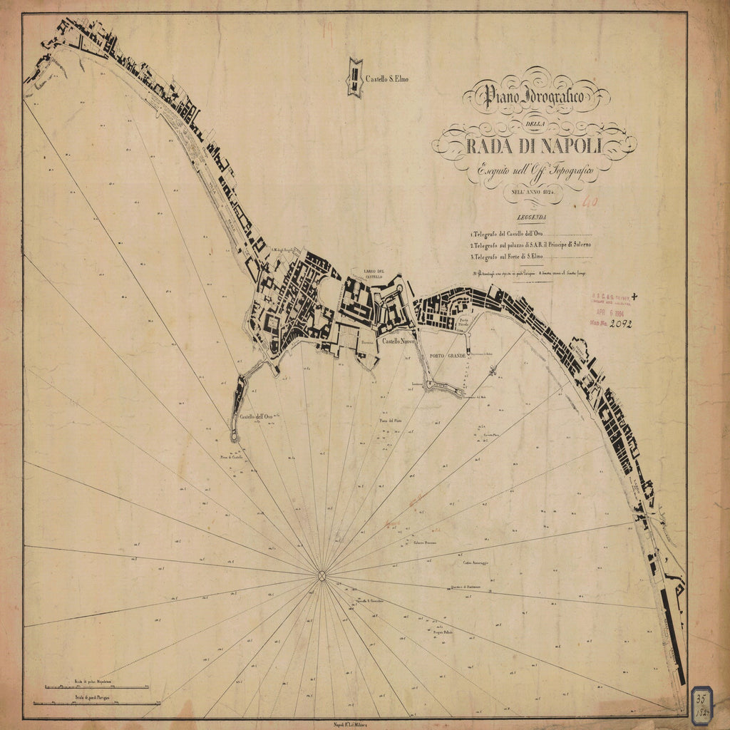 18 x 24 inch 1824 OTHER old nautical map drawing chart of RADA DI NAPOLI From  Napoli R. Litu Militave x7279