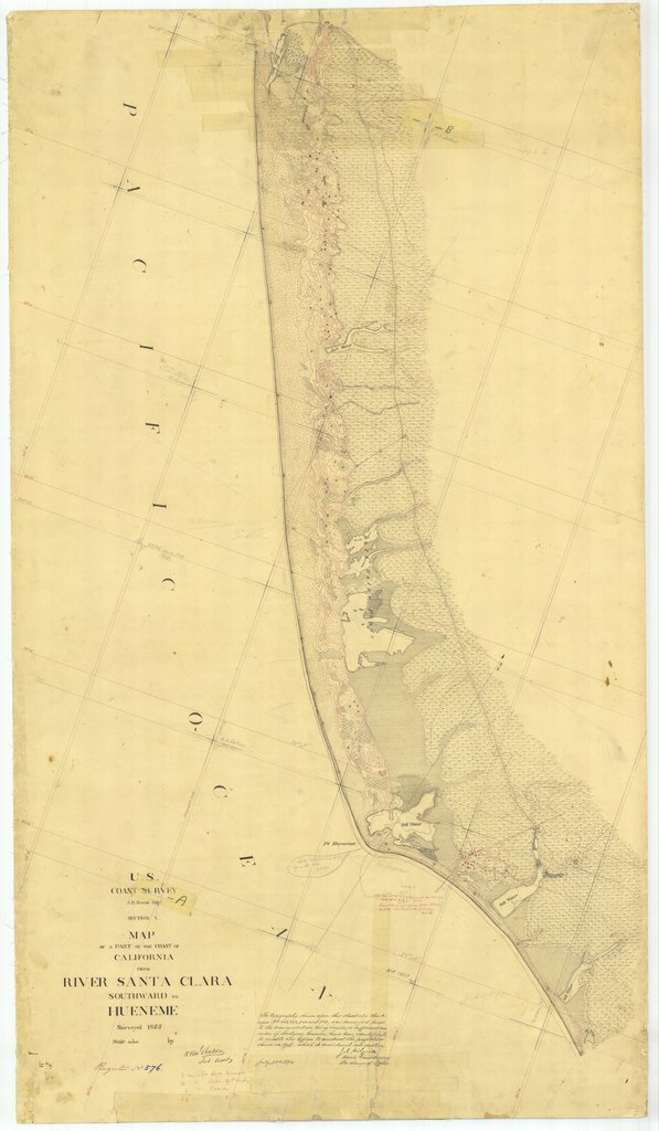 18 x 24 inch 1855 US old nautical map drawing chart of From River Santa Clara Southward to Hueneme, CA From  U.S. Coast Survey x1656