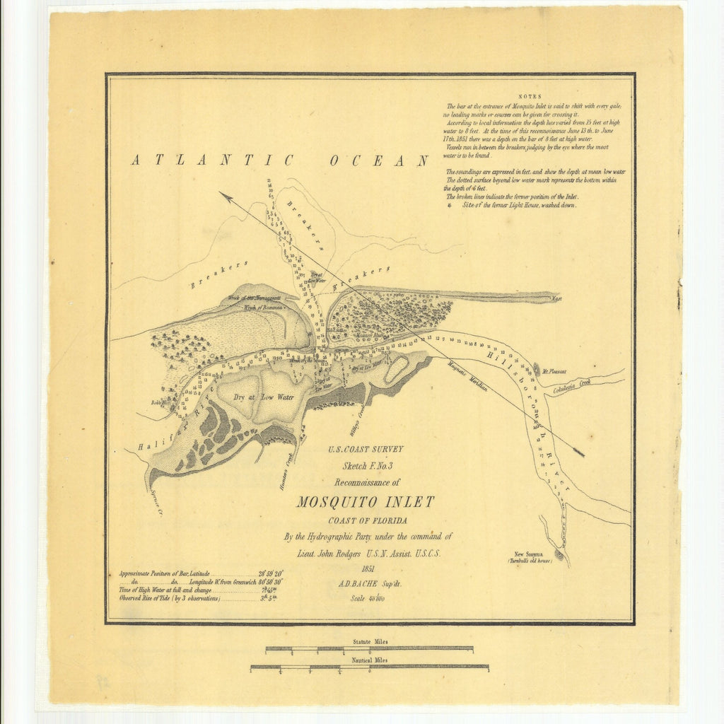18 x 24 inch 1851 US old nautical map drawing chart of Sketch F Number 3, Reconnaissance of Mosquito Inlet, Coast of Florida From  U.S. Coast Survey x1359
