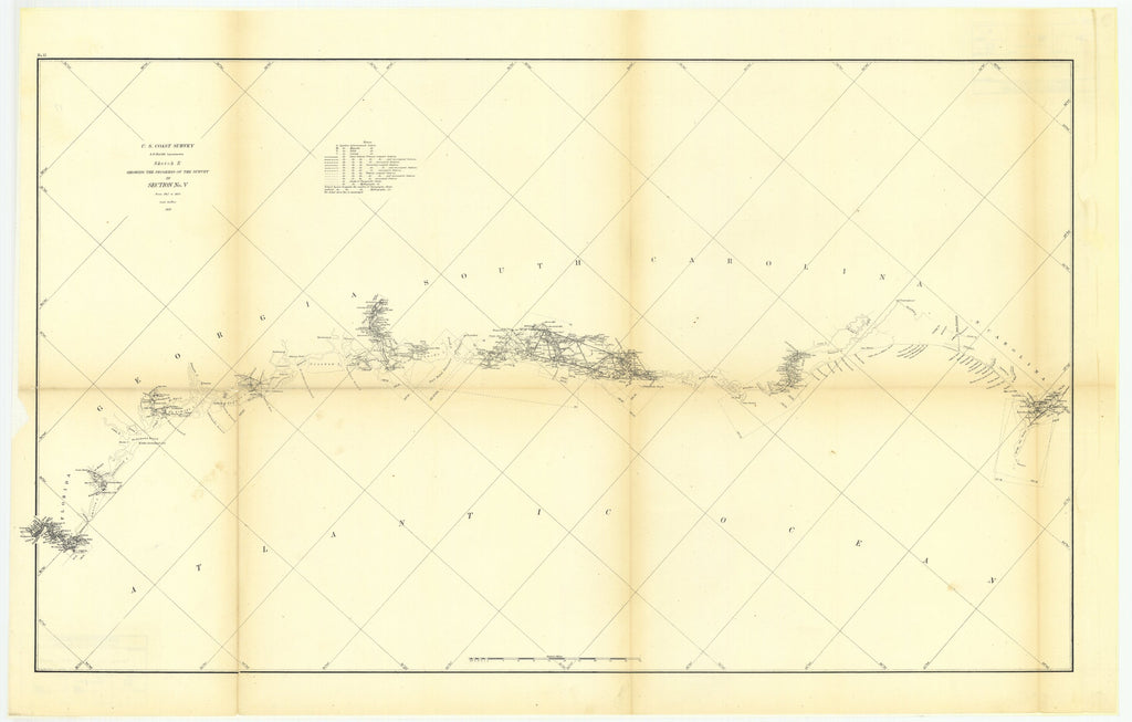 18 x 24 inch 1856 North Carolina old nautical map drawing chart of Sketch E Showing the Progress of the Survey in Section Number 5 from 1847 to 1856 From  U.S. Coast Survey x7236