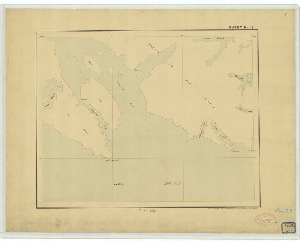 18 x 24 inch 1895 US old nautical map drawing chart of Sheet #3 From  Department of the Interior x2623