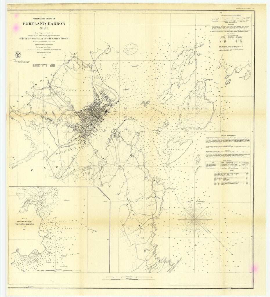 18 x 24 inch 1859 US old nautical map drawing chart of Preliminary Chart of Portland Harbor, Maine with Sketch of Approaches to Portland harbor From  U.S. Coast Survey x4814