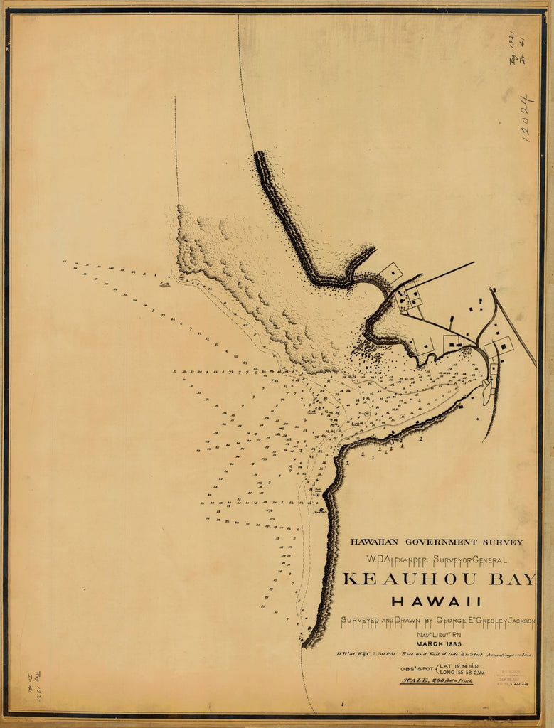 18 x 24 inch 1885 US old nautical map drawing chart of KEAUHOU BAY From  Hawaiian Government Survey x1192