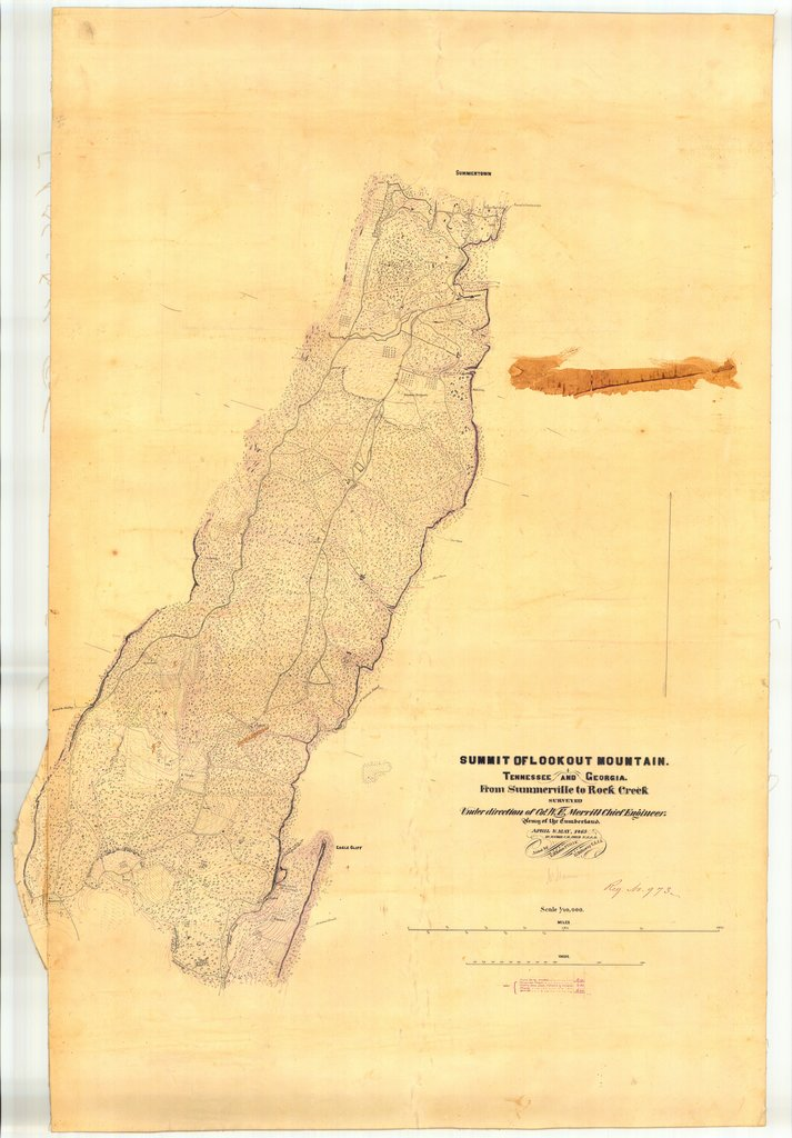 18 x 24 inch 1865 US old nautical map drawing chart of Summit of Lookout Mountain From Summerville to Rock Creek From  US Coast & Geodetic Survey x293