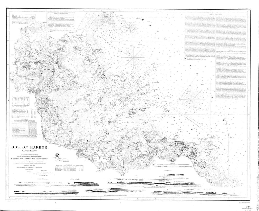 18 x 24 inch 1863 US old nautical map drawing chart of Boston Harbor From  US Coast & Geodetic Survey x2814