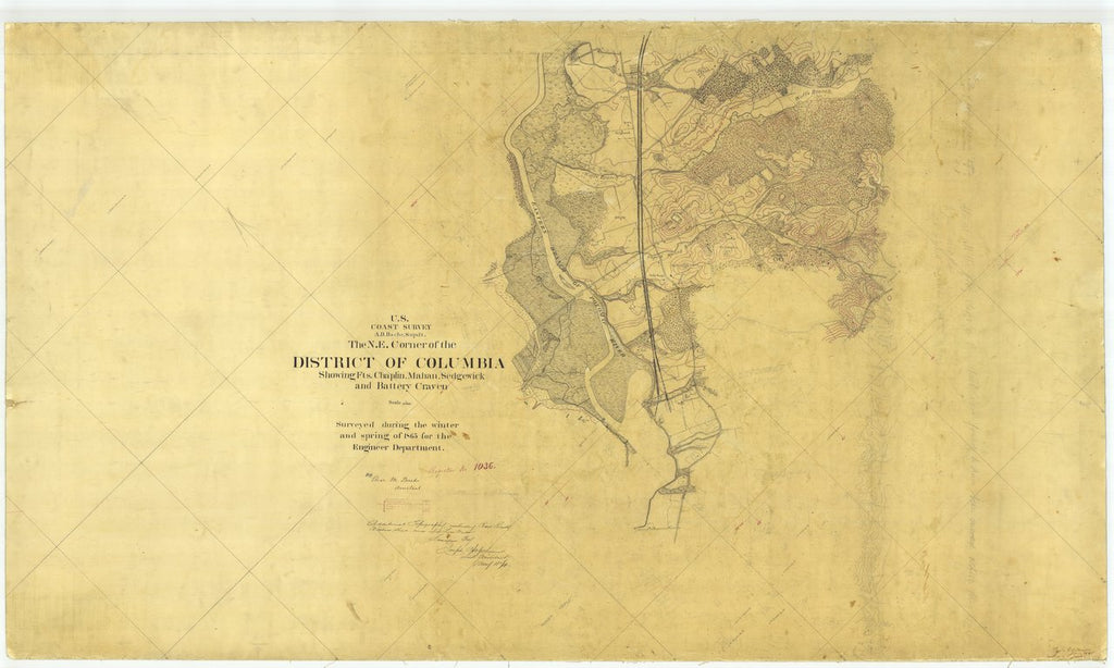 18 x 24 inch 1865 US old nautical map drawing chart of The N. E. Corner of the District of Columbia From  U.S. Coast Survey x730