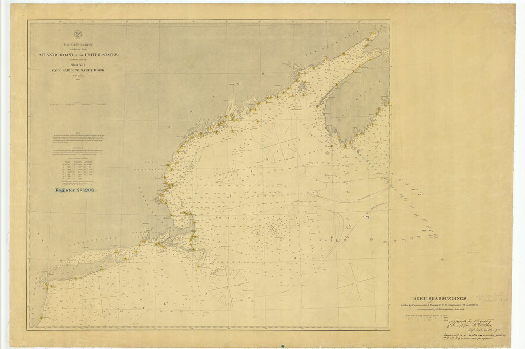 18 x 24 inch 1874 New Hampshire old nautical map drawing chart of Deep Sea Soundings Off Cape Sable From  U.S. Coast Survey x7594