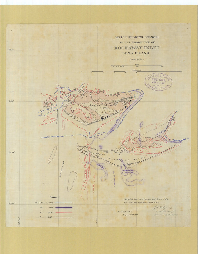 18 x 24 inch 1881 New York old nautical map drawing chart of Rockaway Inlet Long Island From  US Coast & Geodetic Survey x6915