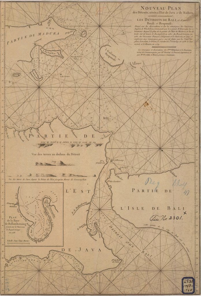18 x 24 inch 1760 Michigan old nautical map drawing chart of NOUVEAU PLAN PARTIE DE L ISLE DE BALI From  NOAA x12221