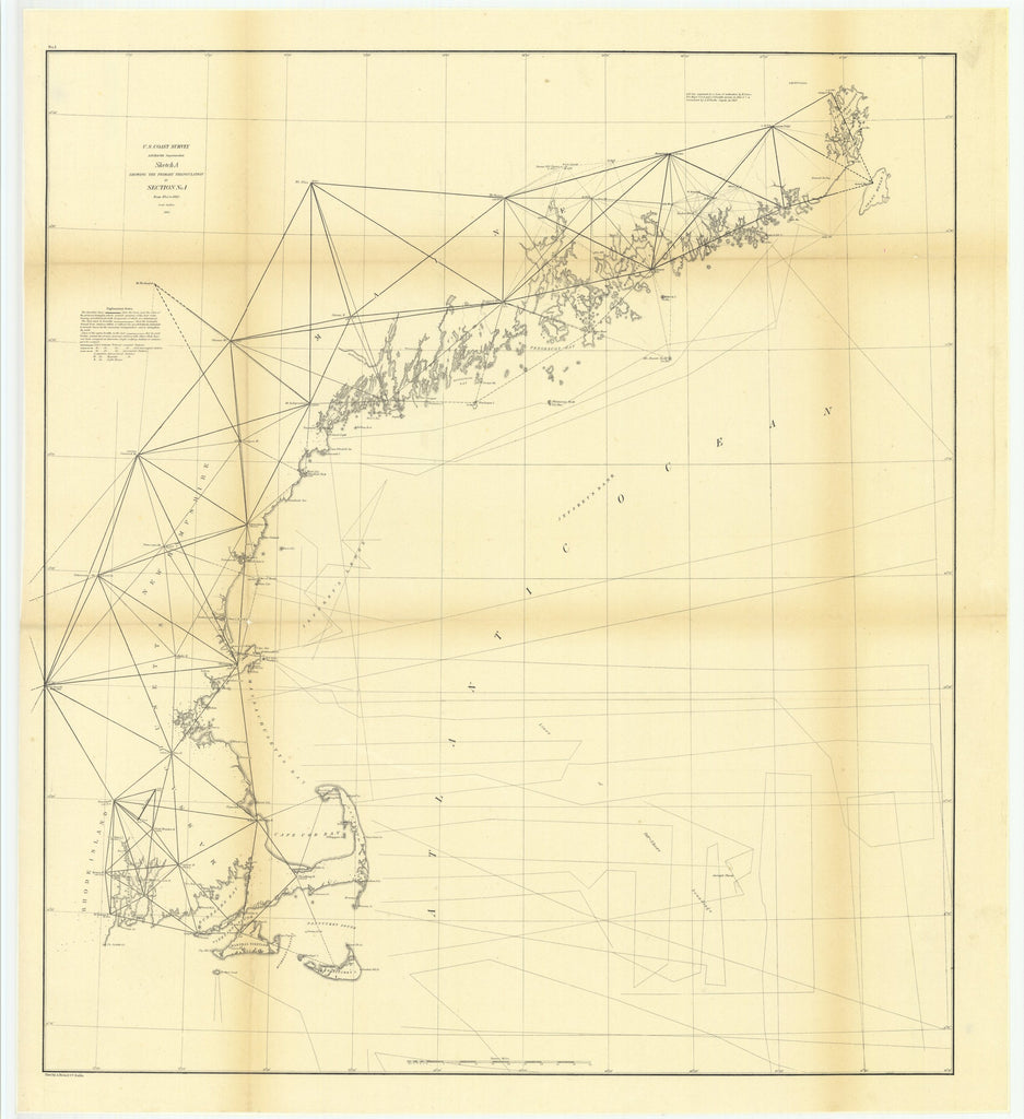 18 x 24 inch 1860 US old nautical map drawing chart of Sketch A Showing the Primary Triangulation in Section Number 1 from 1844 to 1860 From  U.S. Coast Survey x3991