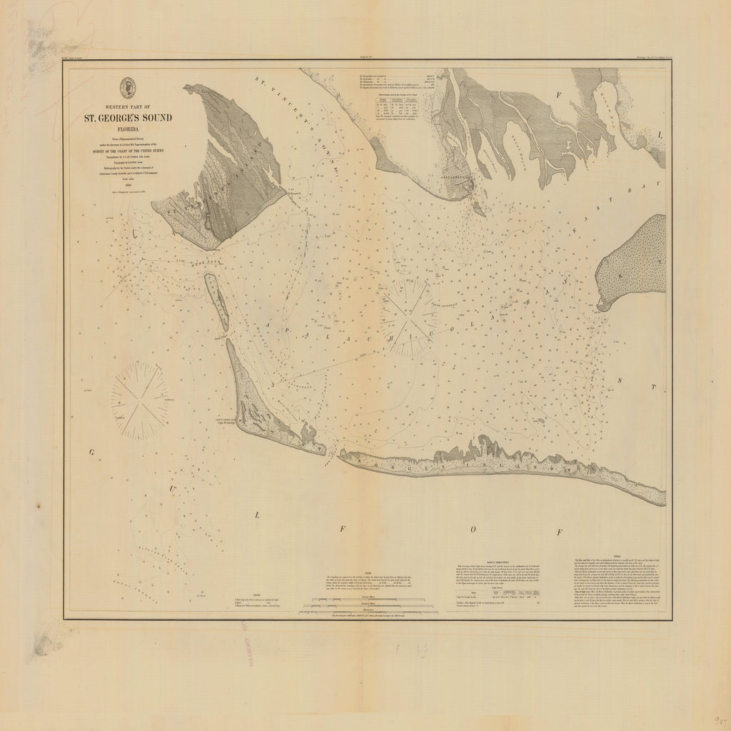 18 x 24 inch 1860 US old nautical map drawing chart of WESTERN PART OF ST. GEORGES SOUND From  NOAA x1381