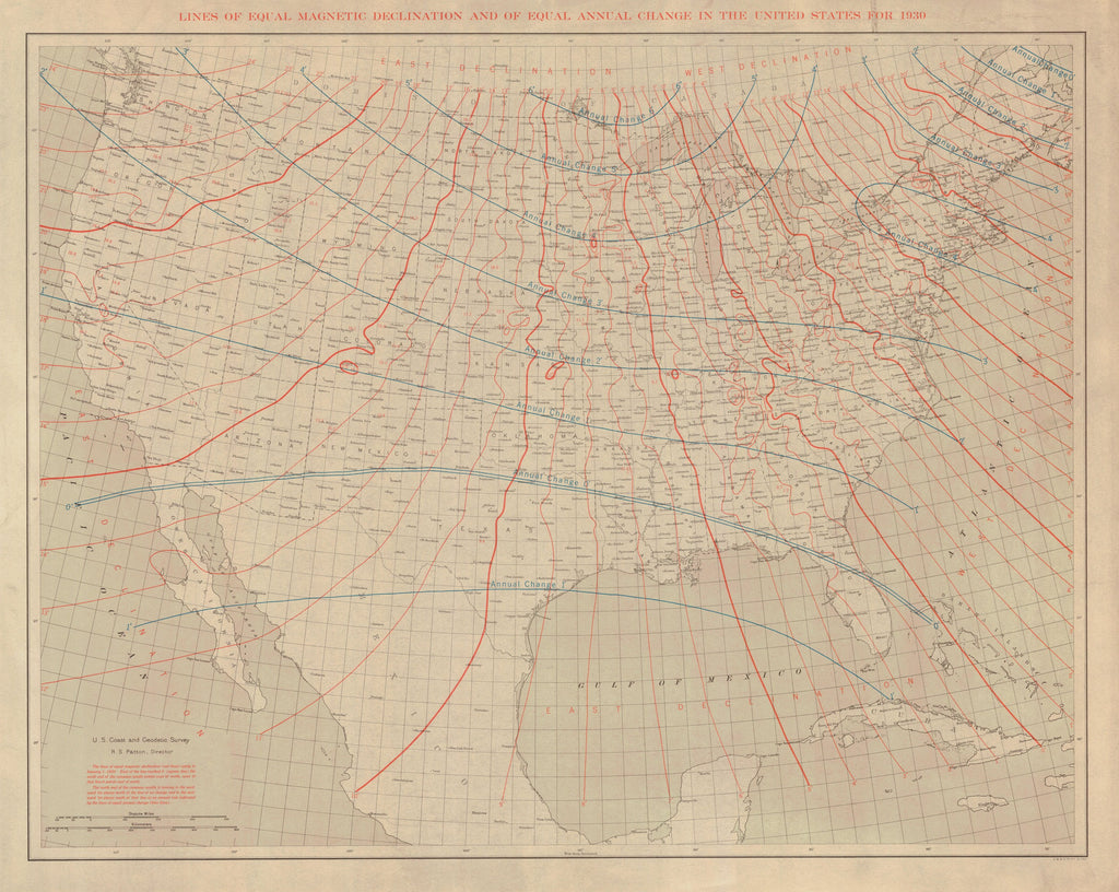18 x 24 inch 1930 USA old nautical map drawing chart of LINES OF EQUAL MAGNETIC DECLINATION AND OF EQUAL ANNUAL CHANGE IN THE UNITED STATES FOR 1930 From  US Coast & Geodetic Survey x12111