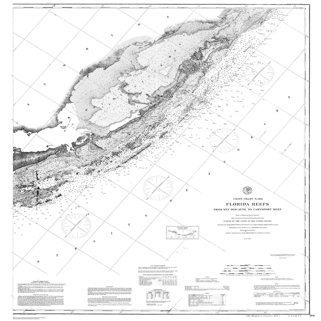 18 x 24 inch 1878 US old nautical map drawing chart of Nautical Chart of Flordia Reefs From  C&GS x2093