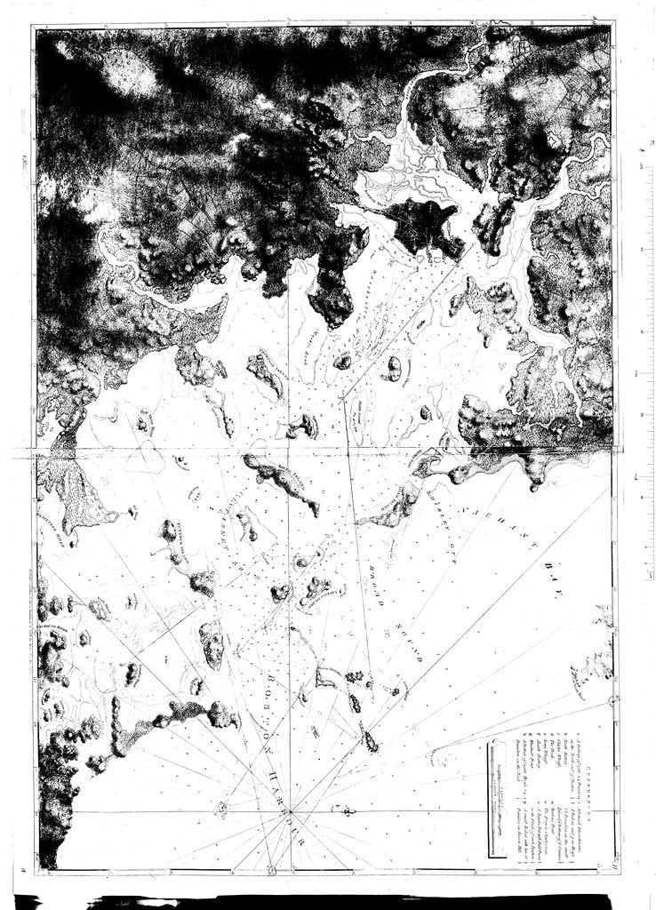 18 x 24 inch 1781 Masachussetts old nautical map drawing chart of [Nachant Bay and Boston Harbour] From  NOAA x12208