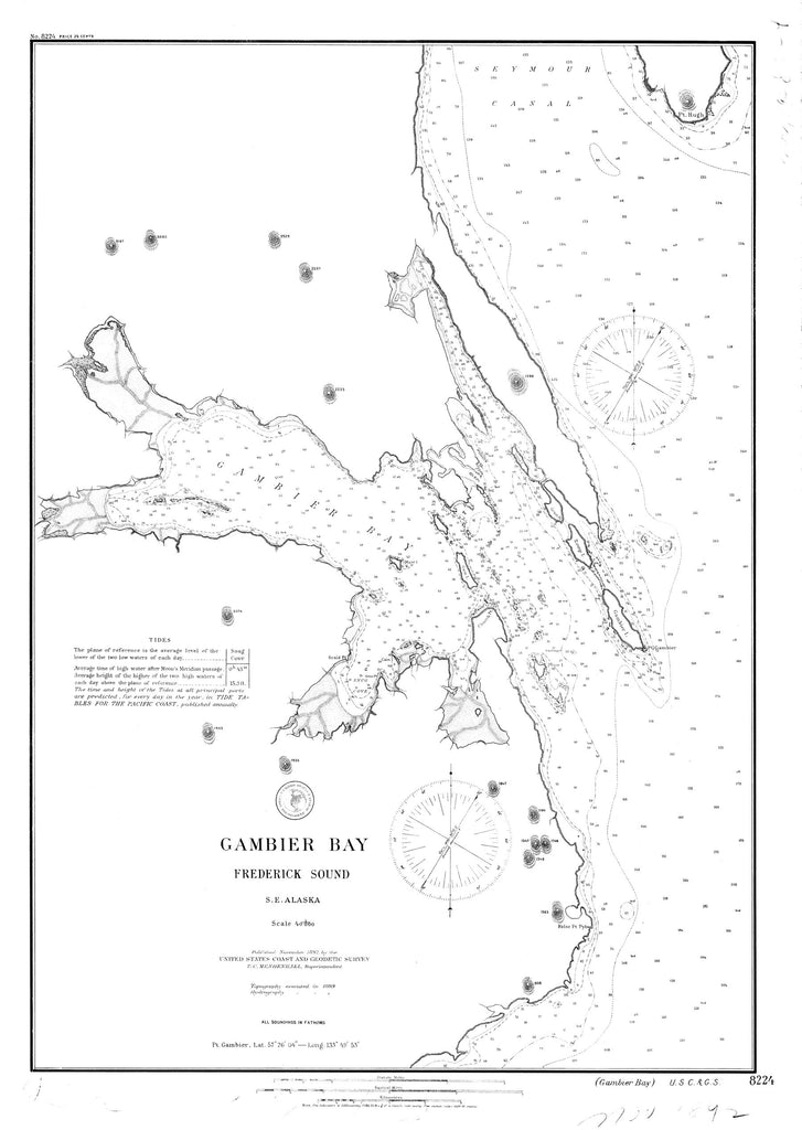 18 x 24 inch 1892 US old nautical map drawing chart of Gambier Bay : Frederick Sound From  US Coast & Geodetic Survey x897