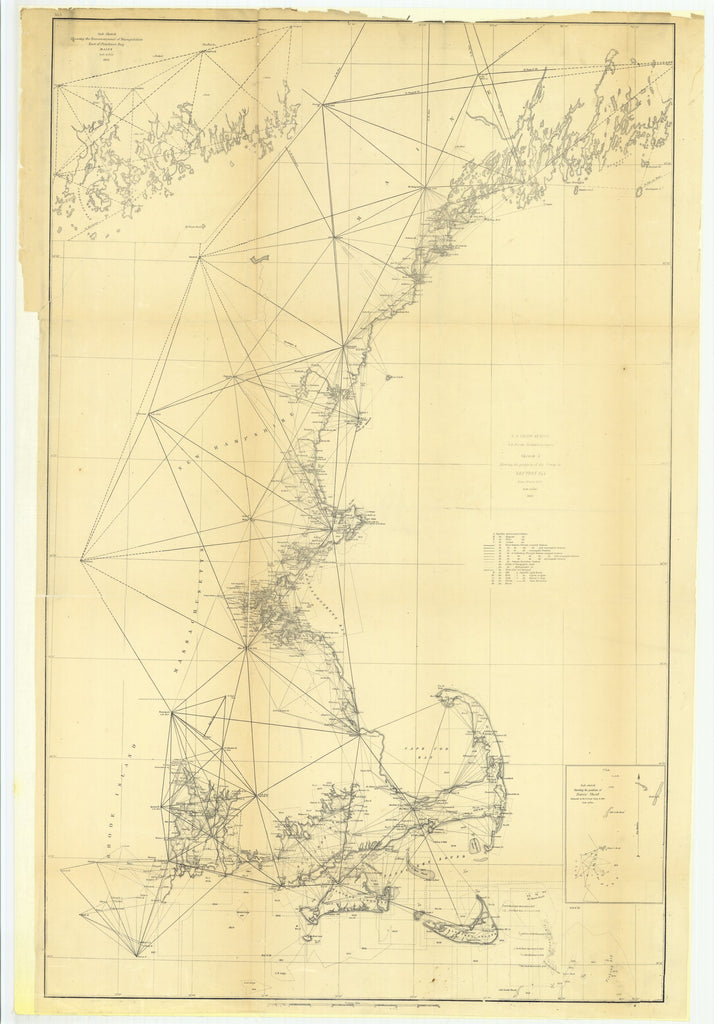 18 x 24 inch 1853 US old nautical map drawing chart of Sketch A Showing the Progress of the Survey in Section Number 1 with Sub Sketch Showing the Reconnaissance of Triangulation East of Penobscot Bay, Maine.. From  U.S. Coast Survey x5846