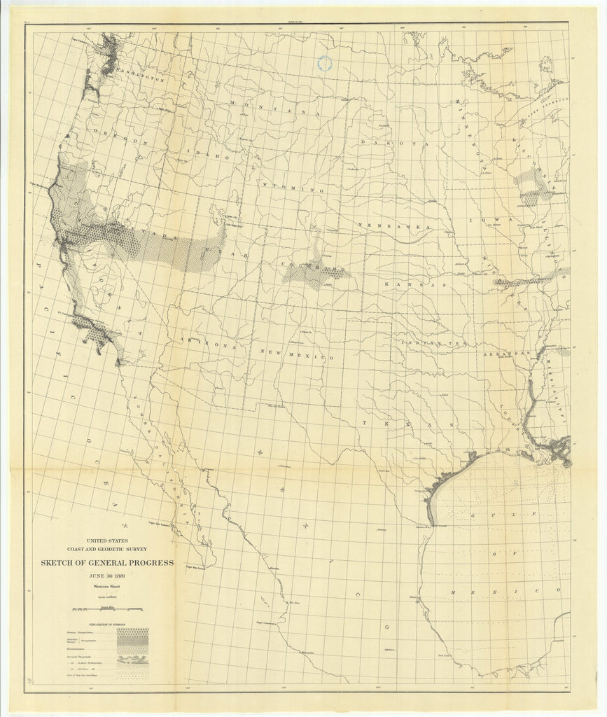 18 x 24 inch 1879 US old nautical map drawing chart of Sketch of General Progress, June 30, 1879, Western Sheet From  US Coast & Geodetic Survey x1446
