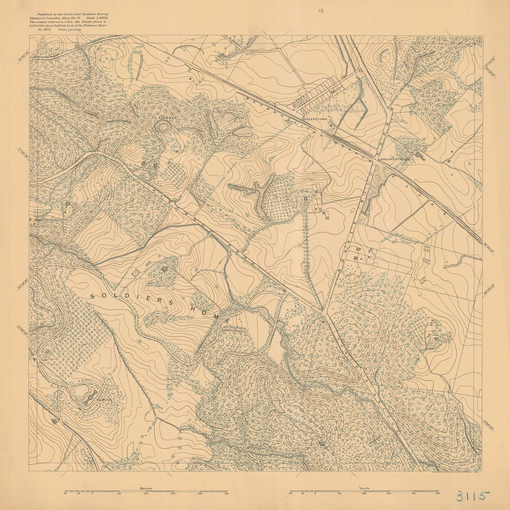 18 x 24 inch 1893 US old nautical map drawing chart of DISTRICT OF COLUMBIA SHEET NO 15 From  C&GS x1591