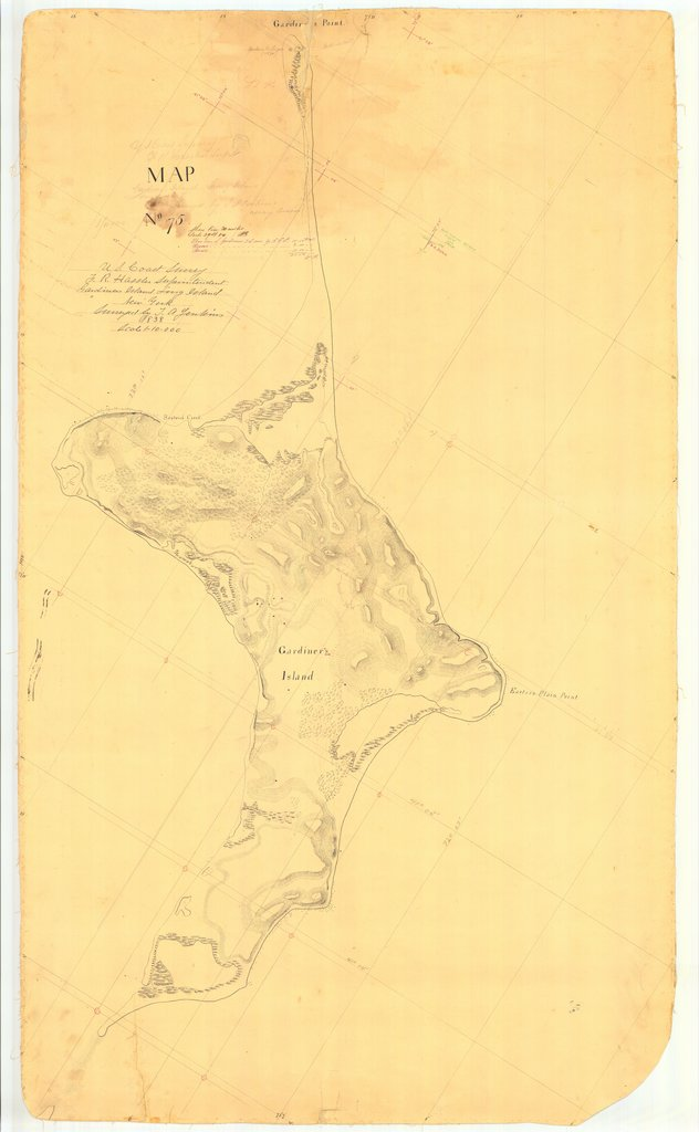 18 x 24 inch 1838 New York old nautical map drawing chart of Gardiners Island Long Island From  U.S. Coast Survey x6831