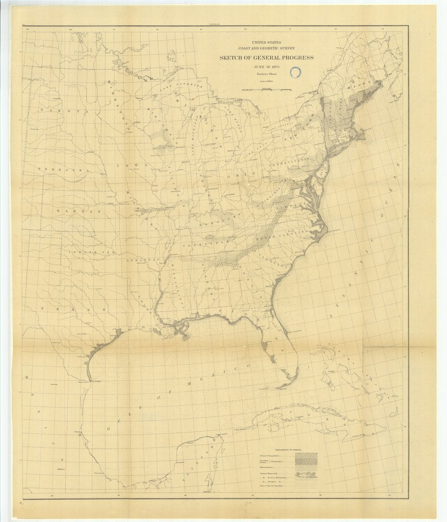 18 x 24 inch 1879 US old nautical map drawing chart of Sketch of General Progress, Eastern Sheet From  US Coast & Geodetic Survey x533