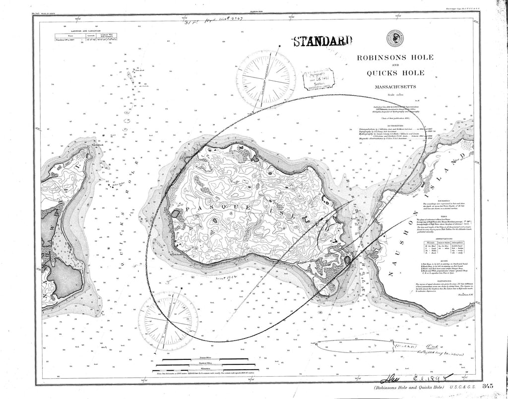 18 x 24 inch 1898 US old nautical map drawing chart of Robinsons Hole and Quicks Hole From  C&GS x2688