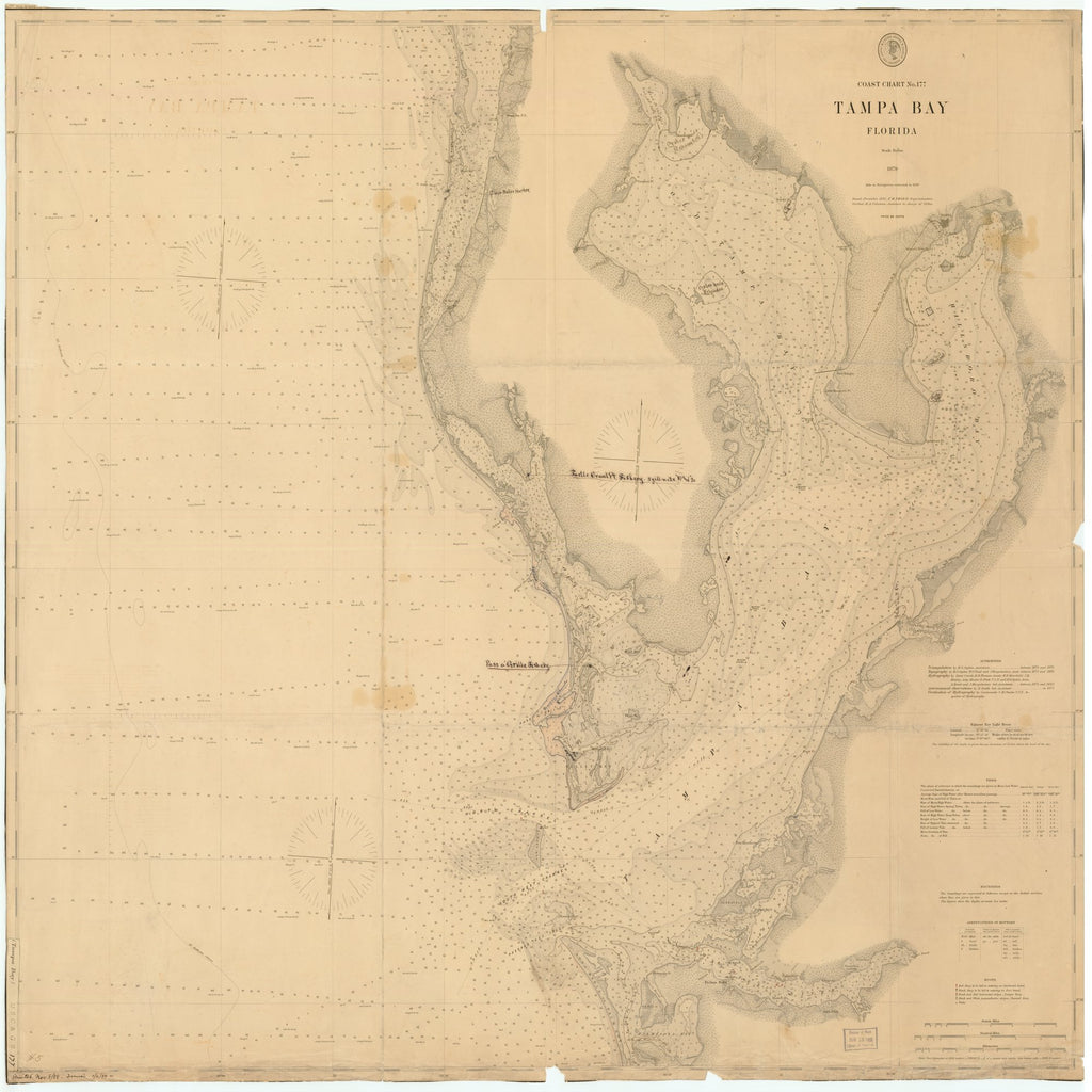 18 x 24 inch 1888 US old nautical map drawing chart of TAMPA BAY, FLORIDA From  US Coast & Geodetic Survey x2153