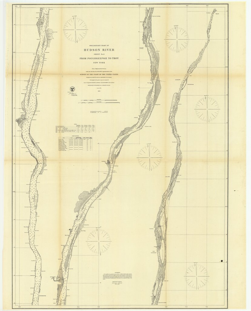 18 x 24 inch 1863 New York old nautical map drawing chart of Preliminary Chart of Hudson River, Sheet Number 3 from Poughkeepsie to Troy, New York From  U.S. Coast Survey x6968